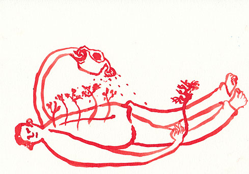 Red ink illustration of a figure watering himself