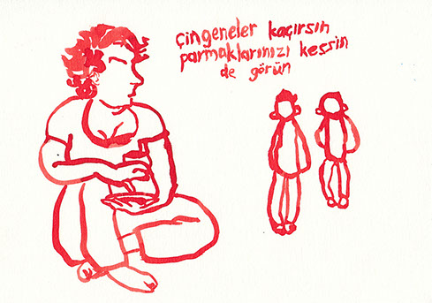 Red ink illustration of a woman and two kids