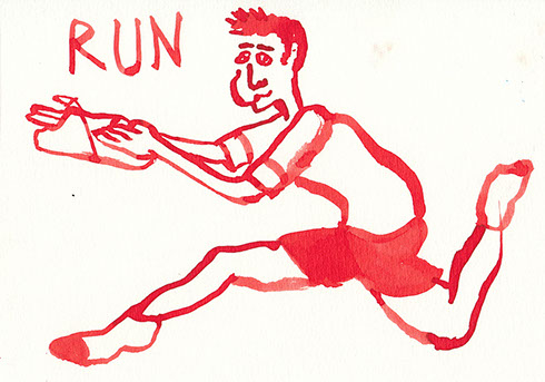 Red ink illustration of a boy with a broken finger running around