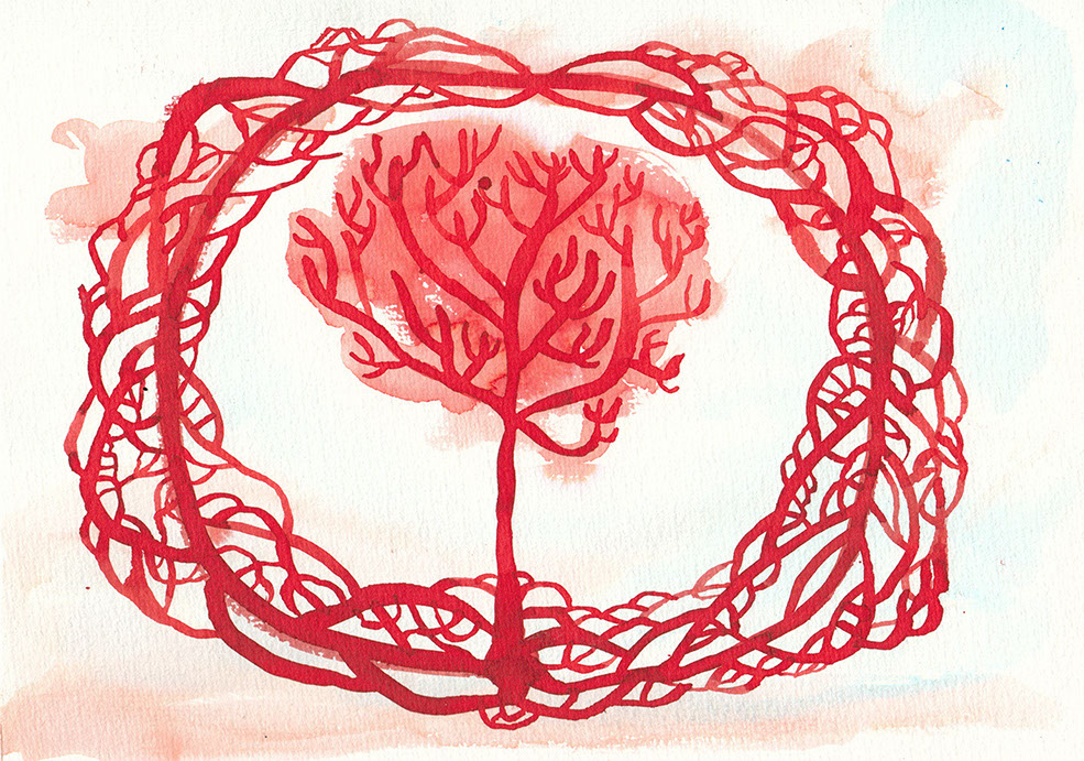 Red ink illustration of a tree