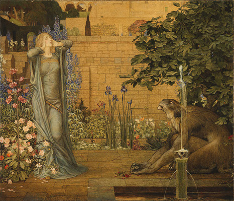 Woman holding her head in a garden filled with flowers and a sloth next to her