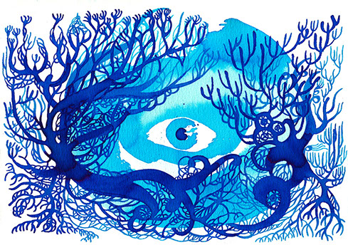 A blue ink illustration with an eye in the middle and tree branches around